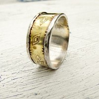 Rustic Western Ring Diamond Stamped Sterling and Brass Ring Band   WestWindCreations - Jewelry on ArtFire