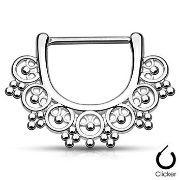 """Pair Body Jewelry 14ga (1.6mm) 1/2""""(12mm) Nipple Bar Clicker Ring or Barbell Tribal Bead design 316l Surgical Steel"""