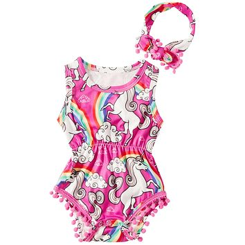TUONROAD Newborn Toddler Baby Girls Floral Sleeveless Bodysuit Romper Pompom Jumpsuit Outfits Set with Headband 0-24M Pink 0-3 Months
