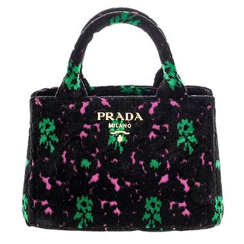 Prada Canapa Green and Fuschia Flowers Velvet Bag