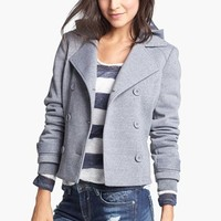 Jou Jou Hooded Peacoat (Juniors) (Online Only) | Nordstrom