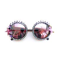 F*cking Magical decorated festival sunglasses for unicorn queens everywhere ~ colorful embellished festival sunnies, you are magical!