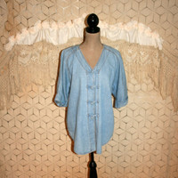 Vintage 90s Oversized Denim Shirt 3/4 Sleeve Tunic Top Hippie Boho Casual Womens Tops 1990s Coldwater Creek Medium Large Womens Clothing