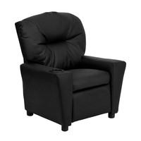 Contemporary Black Leather Kids Recliner with Cup Holder