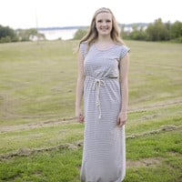 LINE TO FIVE MAXI DRESS- GRAY