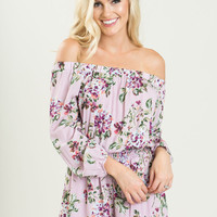 Naomi Purple Off the Shoulder Floral Romper