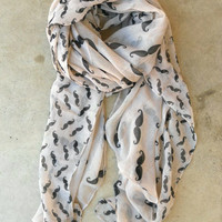 Cheeky Mustache Scarf [3496] - $18.00 : Vintage Inspired Clothing & Affordable Summer Frocks, deloom | Modern. Vintage. Crafted.
