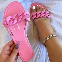 New style candy color fashion casual flat heel sandals and slippers shoes