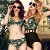 Camouflage waist piece swimsuit bikini swimsuit navy suit