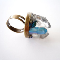 Raw Crystal Mineral Ring - Peacock Ore - Mystic Aura Blue and Clear crystal Quartz - Pyrite -