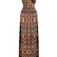 G2 Chic Women's Long Tribal Printed Maxi Dress(DRS-MAX,BRNA2-XL)