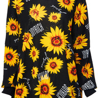 ROMWE | Sunflowers Print Black Sweatshirt, The Latest Street Fashion