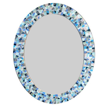 Decorative Wall Mirror / Oval Mosaic Mirror  / Blue, Gray, Black, Green, Aqua