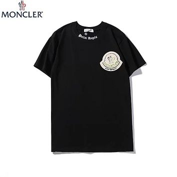 MONCLER 2019 new chest embroidery logo round neck half sleeve t-shirt Black