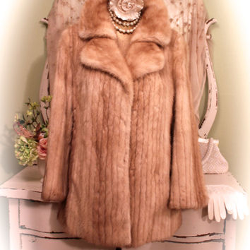 60s Blonde Mink Coat, 50s 60s Stroller, Retro Autumn haze, Hollywood Regency, Walking Jacket, Fur Jacket, Women's Size large / Medium Lg