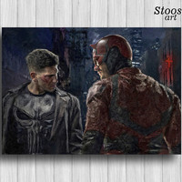 daredevil punisher poster daredevil print super hero marvel wall art