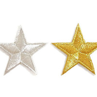 Set 2pcs. Little Star Gold & Silver New Iron On Patches Embroided Size 4.4cm.x4.2cm.