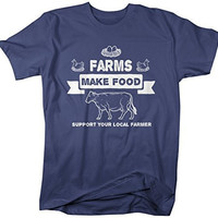 Shirts By Sarah Men's Farms Make Food T-Shirt Support Farmer Shirt Cow Chicken