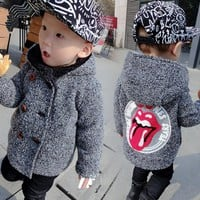 High Quality New Boys Kids Winter Hooded Coat Baby Cute Lips Double-breasted Jacket Plus Velvet Warmer Children clothing 1-5T