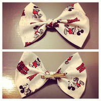 Old Style Mickey Mouse Fabric Hair Bow Clip Or Headband