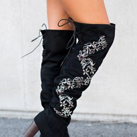 Topaz Embroidered Thigh High Boot (Black)