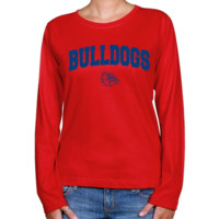 Gonzaga Bulldogs Ladies Red Logo Arch Long Sleeve Classic Fit Tee