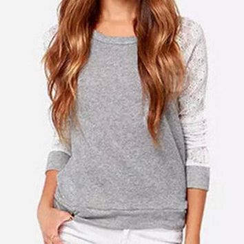 Long Sleeve Patchwork Lace T-Shirt
