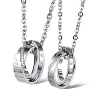 TIDOO Jewelry Fashion 316L Stainless Steel His & Hers Matching Set Pendant Necklace Inlay Rhinestone Ring Pendant Neck Chain Torque For Couple Lover Party Wedding Anniversary Engagement (With Thanksgiving&Christmas Gift Box)= 1930076676