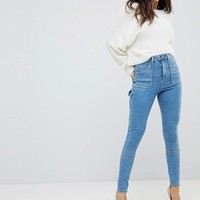 ASOS RIDLEY High Waist Skinny Jeans With Painter Styling In Lily Pretty Wash at asos.com