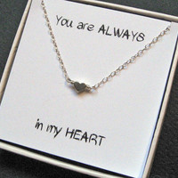 """Tiny Heart Necklace, Silver Heart Necklace, Layering Necklace, Minimal jewelry, Love Jewelry Mother Sister Wife Gift, """"Naxos"""" Necklace"""