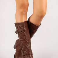 Side Zipper Chunky Heel Knee High Boot
