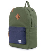Herschel Supply Co.: Heritage Backpack - Army Coated Cotton Canvas / Indigo Denim (Select Series)
