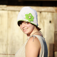 White with Lime Flower Crocheted Women's Beanie