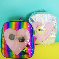 Rainbow Laser Backpack Silver Transparent Love Heart Backpack For Teenager Girls School Bag Women Rucksack