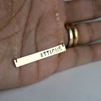 Long gold initial bar necklace - Personalized nameplate necklace for long names - 40mm wide - Silver name tag necklace