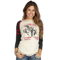 Women's Cowgirl Tuff Cream, Black with Red Lace Baseball Tee