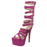 Womens Platform Sandals Gladiator Strappy Buckle High Heel Shoes Pink SZ