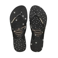 Slim Metallic Black Celestial Sandal