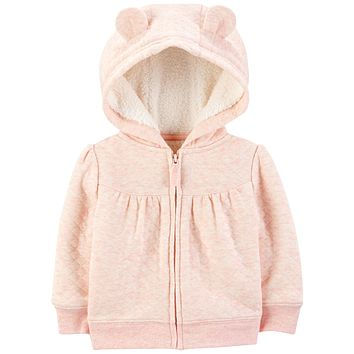 Simple Joys by Carter's Baby Girls' Hooded Sweater Jacket with Sherpa Lining 3-6 Months Pink