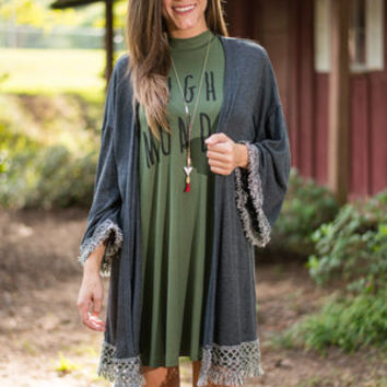 Don't Stop Believing Cardigan, Charcoal