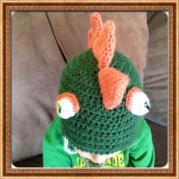 Dinosaur Lizard Mohawk Spikes Earflaps Hat Many sizes Newborn Infant Baby Toddler- Hand Crochet Beanie Photo Prop