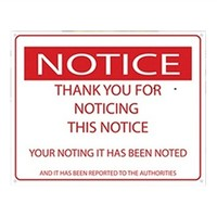 Thanks For Noticing This Notice - College Humor Tin Sign Dorm Wall Decor Ideas Decorations Humor
