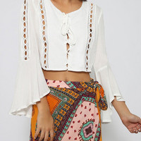 White Lace Bell Sleeves Crop Top