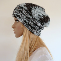 Slouch Beanie Hat Hand knit Hat in Black, Silver Gray Slouchy hat  Unisex
