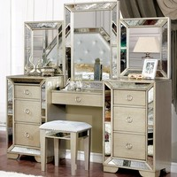 Lindsay Contemporary Style Silver Vanity Set