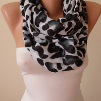 Gift - Leopard  Infinity Scarf - Soft Cotton Fabric - Mother's Day
