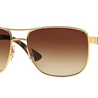 Ray-Ban RB3533 001/13 57mm Gold Frame/Brown Gradient Lens Sunglasses
