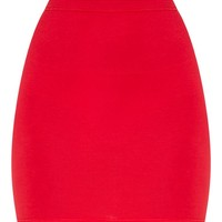 Basic Red Jersey Mini Skirt