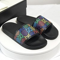 GUCCI New fashion more letter star print shoes slippers flip flop women Black