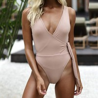 One Piece Bathing Suit Hot  swimsuit Women Thong Swimwear Backless Pink Brown Pool Bathing suit swimming Suits Sexy High Cut Monokini KO_9_1